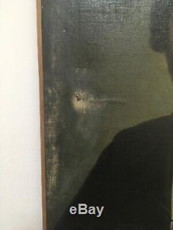 Ancien XIX Grand Portrait Jeune Homme, Peinture Tableau Huile Sur Toile
