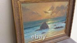 Ancien beau tableau huile sur bois COUCHER DE SOLEIL MARITIME signé M CHAPUIS