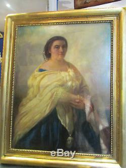 Ancien grand tableau 19 eme portrait de femme cadre huile sur toile signé