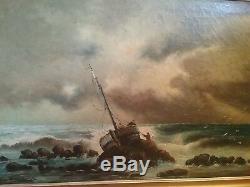 Ancien grand tableau Sylvain sauvage navire echoué marine huile sur toile signé