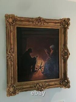 Ancien grand tableau huile sur toile anonyme