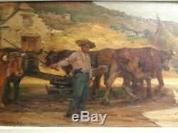 Ancien grand tableau huile sur toile scene paysanne PAUL MICHEL DUPUY 1906