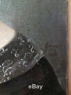 Ancien jolie tableau du 19ème huile sur toile signée. Portait d'une femme signée