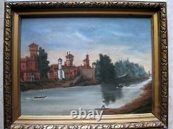 Ancien paysage Hollandais peinture huile sur toile oil Signé Breitner Painting