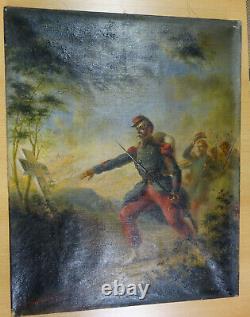 Ancien peinture patriotique, originale 1ere guerre mondiale, huile sur toile