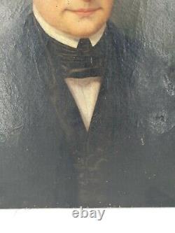 Ancien portrait d'homme époque XIX ème s, huile sur toile