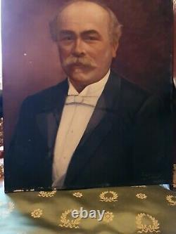 Ancien portrait d'homme fin XIX ème s, huile sur toile signée