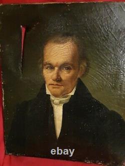 Ancien portrait d'homme huile sur toile XIX ème s