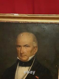 Ancien portrait d'homme, huile sur toile, début XIX ème s, cadre doré