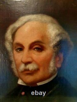 Ancien portrait d'homme, huile sur toile, époque XIX ème s