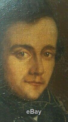 Ancien portrait d'homme tableau peinture huile sur toile bourgeois XIXe 19e