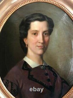 Ancien portrait de femme bourgeoise, huile sur toile époque Napoléon III, signée