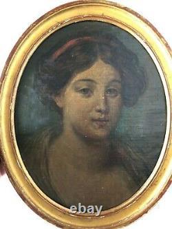 Ancien portrait de femme époque début XIXéme siècle huile sur toile sur carton