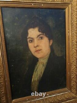Ancien portrait de femme, huile sur toile, cadre doré, fin XIX ème s