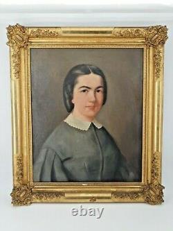 Ancien portrait de jeune fille, huile sur toile XIX ème s, superbe cadre doré