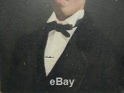 Ancien portrait de jeune homme, Huile sur toile, XIXème