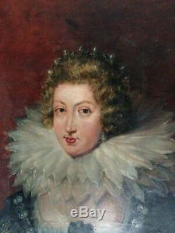 Ancien portrait femme à la collerette huile sur toile XIX