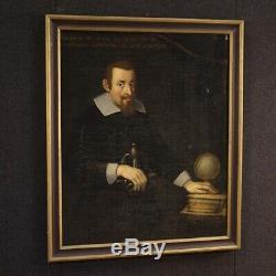 Ancien portrait tableau peinture huile sur toile 18ème siècle XVIII 700 cadre
