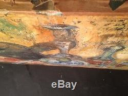 Ancien tableau Belle Nature morte Huile sur toile signée