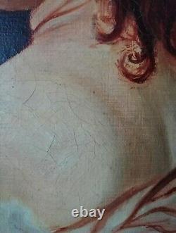 Ancien tableau Huile sur Toile portrait Jeune Femme signé M. THOMAS à restaurer