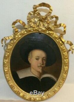 Ancien tableau Louis XVI portrait d'homme MOUSQUETAIRE 18 ème huile sur toile