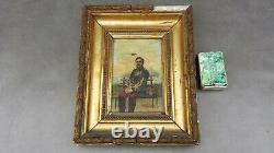 Ancien tableau PORTRAIT DE CAPITAINE INFANTERIE 102 ème régiment sur bois 1884