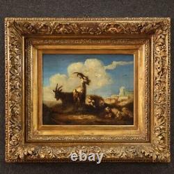 Ancien tableau chèvres peinture moutons paysage huile sur toile 18ème siècle