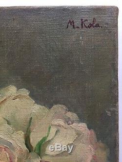 Ancien tableau début XXe Roses vase Bouquet de fleurs Huile sur toile signée