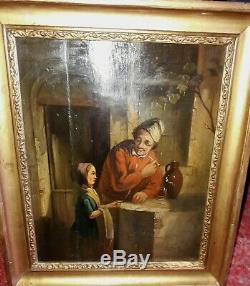 Ancien tableau école hollandaise flamande peinture ancienne huile sur panneau