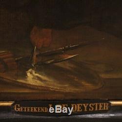 Ancien tableau flamand peinture religieuse huile sur toile cadre Christ 700