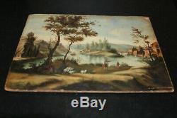 Ancien tableau huile sur Bois