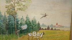 Ancien tableau huile sur Toile scène de chasse