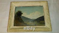 Ancien tableau huile sur carton paysage de montagne époque fin XIXe