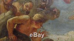Ancien tableau huile sur cuivre 17e 18e mythologie dieux grecs hera zeus paon