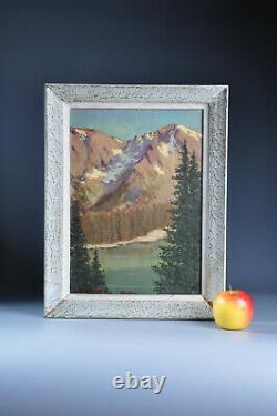 Ancien tableau huile sur panneau montagnes Signé XX Old painting mountain