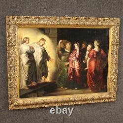 Ancien tableau huile sur panneau peinture avec cadre religieux 600 17ème siècle