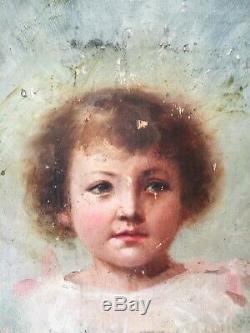Ancien tableau huile sur panneau portrait de jeune fille XIXe