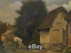 Ancien tableau huile sur toile 19 eme scene villageoise animée barbizon paysage