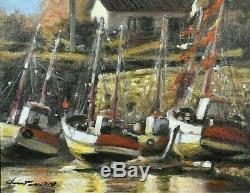 Ancien tableau huile sur toile Marine Bateaux à quai signé XXème