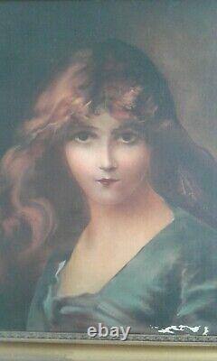 Ancien tableau huile sur toile. Portrait jeune femme à la chevelure rousse. 1900