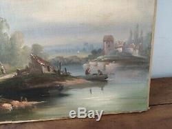 Ancien tableau huile sur toile XIXème petit village au bords de l eau