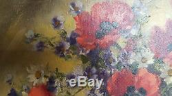 Ancien tableau huile sur toile bouquet fleurs signé Pierre Sorel 1950 cadre bois