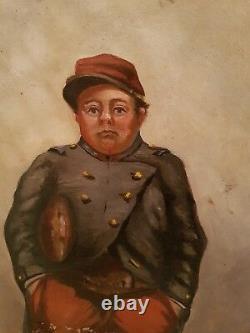 Ancien tableau huile sur toile militaire