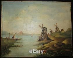 Ancien tableau huile sur toile paysage aux moulins, Hollande Louis Mathey 1893