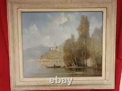 Ancien tableau, huile sur toile, pêcheur, signé et encadré