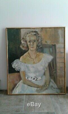 Ancien tableau huile sur toile portrait de Madeleine Ozeray par Marie Howet