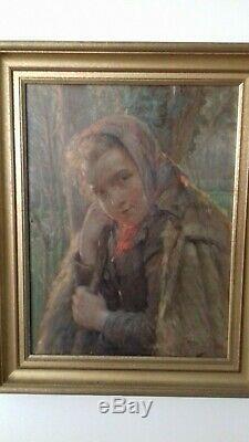 Ancien tableau huile sur toile portrait jeune bergère. Signé Severin Duole 19e