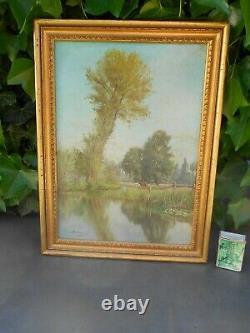 Ancien tableau huile sur toile signé 1885 VACHES AU PTURAGE au bord de l'eau
