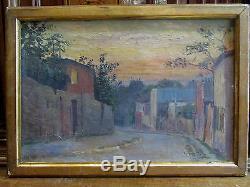 Ancien tableau huile sur toile signé encadré les pentes de montmartre paris
