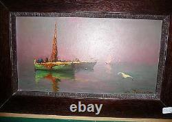 Ancien tableau huile sur toile signée marine avec bateaux peinture contemporaine